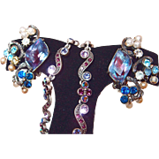 Florenza Dusty Blue and Plum Rainbow Earrings with Faux Pearl Dangles, Plus Bonus Prom Necklace