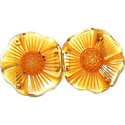 Carved Apple Juice Bakelite Flower Buckle with Honeycomb Centers
