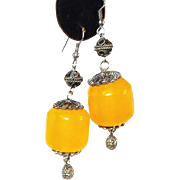 Sterling Moroccan Amber Bead Fish Hook Earrings