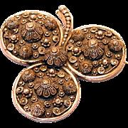 Designer Etrusceana Three Leaf Clover Large Brooch