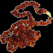 Long Dark Honey Amber Chunk Necklace