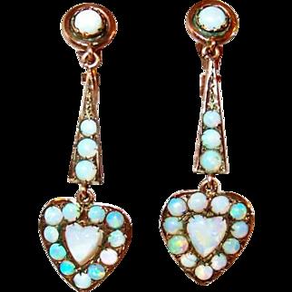 Edwardian Opal Heart Gold Drop Earrings