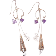 Sterling Southwestern Rock Crystal and Amethyst Drop Hook Earrings