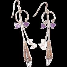 Sterling Southwestern Rock Crystal and Amethyst Drop Hook Earrings