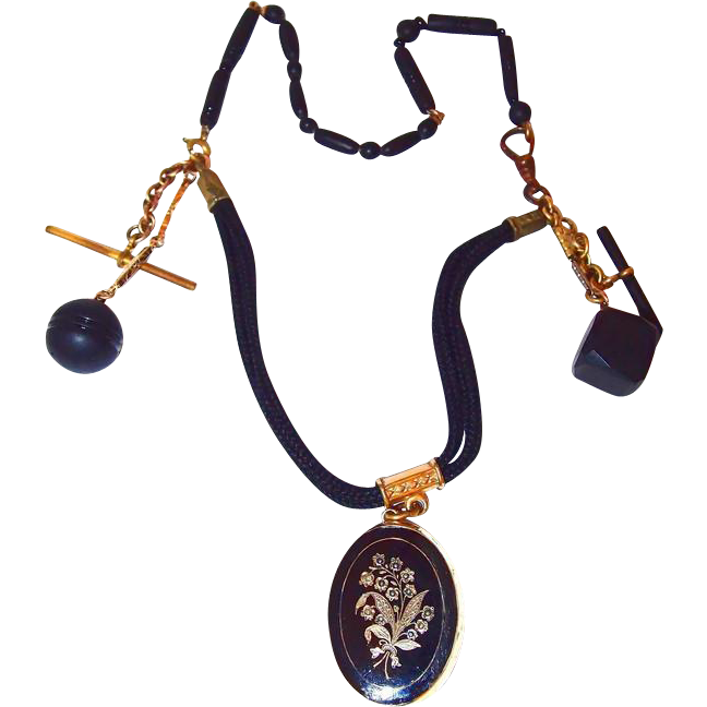 Antique Locket Jet Fob Mourning Hair Work Watch Chain Necklace with Pearl Lily-of-the-Valley