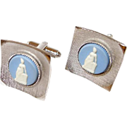 Textured Silvertone Cufflinks by Shields with Wedgwood Cameo Centers