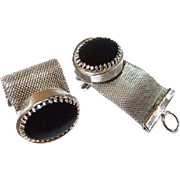 Black Glass Mesh Wrap Cufflinks in Silvertone