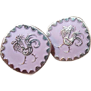 Designer Lavender Enamel Rooster Cufflinks