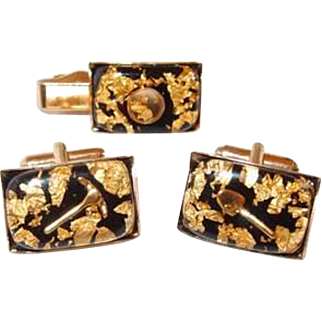 Gold Digger Tie Clip and Cufflink Set in Lucite with Gold Dust, Shovel, Pick and Pan