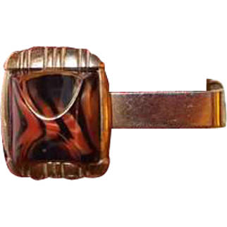Marbled Tiger Striped Lucite Tie Clip