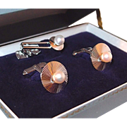Vintage Cuff Links and Tie Clip Set by Fuji Pearl Co. Fashioned in Sterling Silver in Original Box