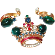 Trifari Crown Pin and Earring 1940s Set with Green Cabochons