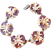 Pansy Shell and Brilliant Rhinestone Bracelet