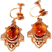 Victorian Revival Drop Earrings with Citrine Crystals