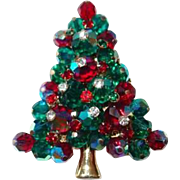 Red and Green Paved Crystal Christmas Tree Pin