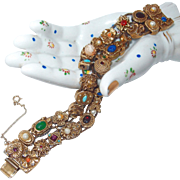 Goldette Double Chain Slide Bracelet with Victorian Style Motif Charms