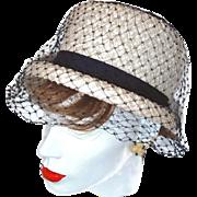 White Navy Pillbox Hat Navy Netting and Grosgrain Ribbons Over Basket Weave