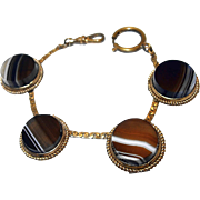 1890s Banded Agate Button Style Watch Chain Bracelet