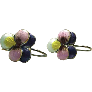 Chinese Pansy Enamel Sterling Hook Earrings