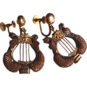 Victorian Lyre 10kt Gold Hair-work Earrings