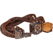 Locket Mourning Bracelet Gilt Silver and Gold Hair-work Locket Bracelet Victoria/Albert Era