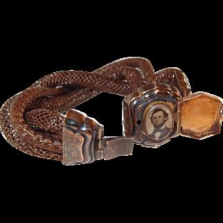 Locket Mourning Bracelet Gilt Silver and Gold Hairwork Locket Bracelet Victoria/Albert Era
