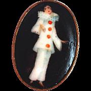 Antique Porcelain Pierrot Brooch New Orleans Estate