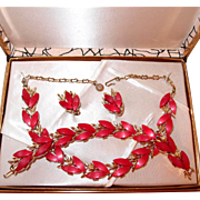 Early Plastic Red Thermoset Complete Set in Original Box Includes Necklace, Bracelet, Earrings