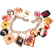Lucite Reversed-carved and Painted Charm Bracelet with Flowers and Fish