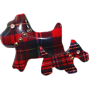 Lucite Scottie Dogs Pin with Scottish Plaid Fabric Brass Rivet Collars and Rhinestone Eyes