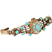 Antique 14kt Gold Bracelet with Precious Opals in Predominately Blue/Green