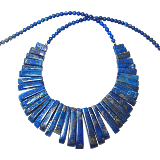 Spiked Lapis Stone Necklace