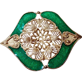 Unusual Vintage Filigree and Green Glazed Brooch by ELLE