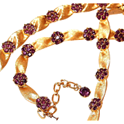 Trifari Ribbon Amethyst Birthstone Necklace and Bracelet Set for February