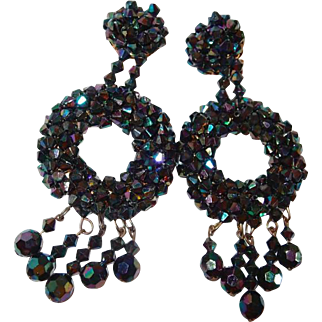 Drop Carnival Ware Shoulder Duster Earrings in Purple and Blue Shades