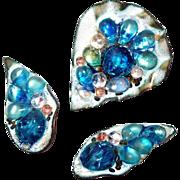Mid Century Enamel Fused Glass Copper Pin Earring Set by Beryl Sheldon