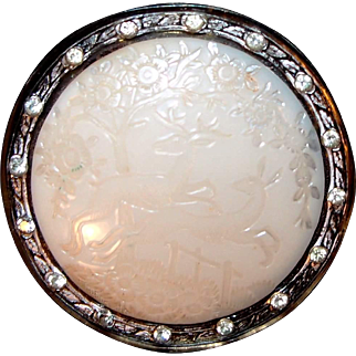French Celluloid Buck and Doe Deer Art Deco Pin with Paste Stones