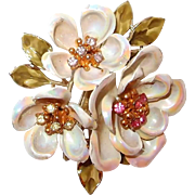 Coro Dogwood Bloom Brooch Aurora Borealis Petals with Rhinestone Center Clusters