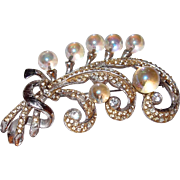 1930s Feather Brooch Pave Rhinestones with Rainbow Bubble Glass