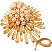 Tiered Spray Brooch with Faux Pearls and Rhinestones