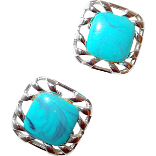 Coro Turquoise Marble Thermoset Plastic Earrings