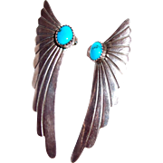 Long Feather Sterling and Turquoise Post Earrings - Marked