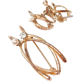 Double Wishbone Simulated Pearl and Paste Pin and Earring Set