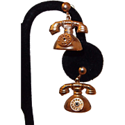 Telephone Charm Gold Filled Earrings