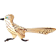 Carved Wooden Road Runner Bird Brooch