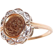10k Gold Chinese Coin Panda Ring with Diamonds