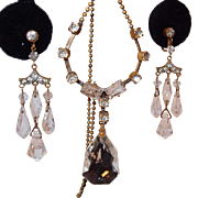 Art Deco Crystal and Paste Dangle Earring and Necklace Set