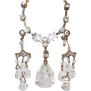 Crystal and Paste Art Deco Drop Earring and Necklace Set