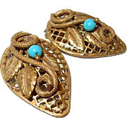 Coiled Snake Dress Clip Set Turquoise Glass Beads Gilt Metal Stamped Leaves