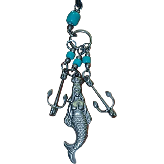 Turquoise Glass Bead Mermaid Ship Anchor Necklace